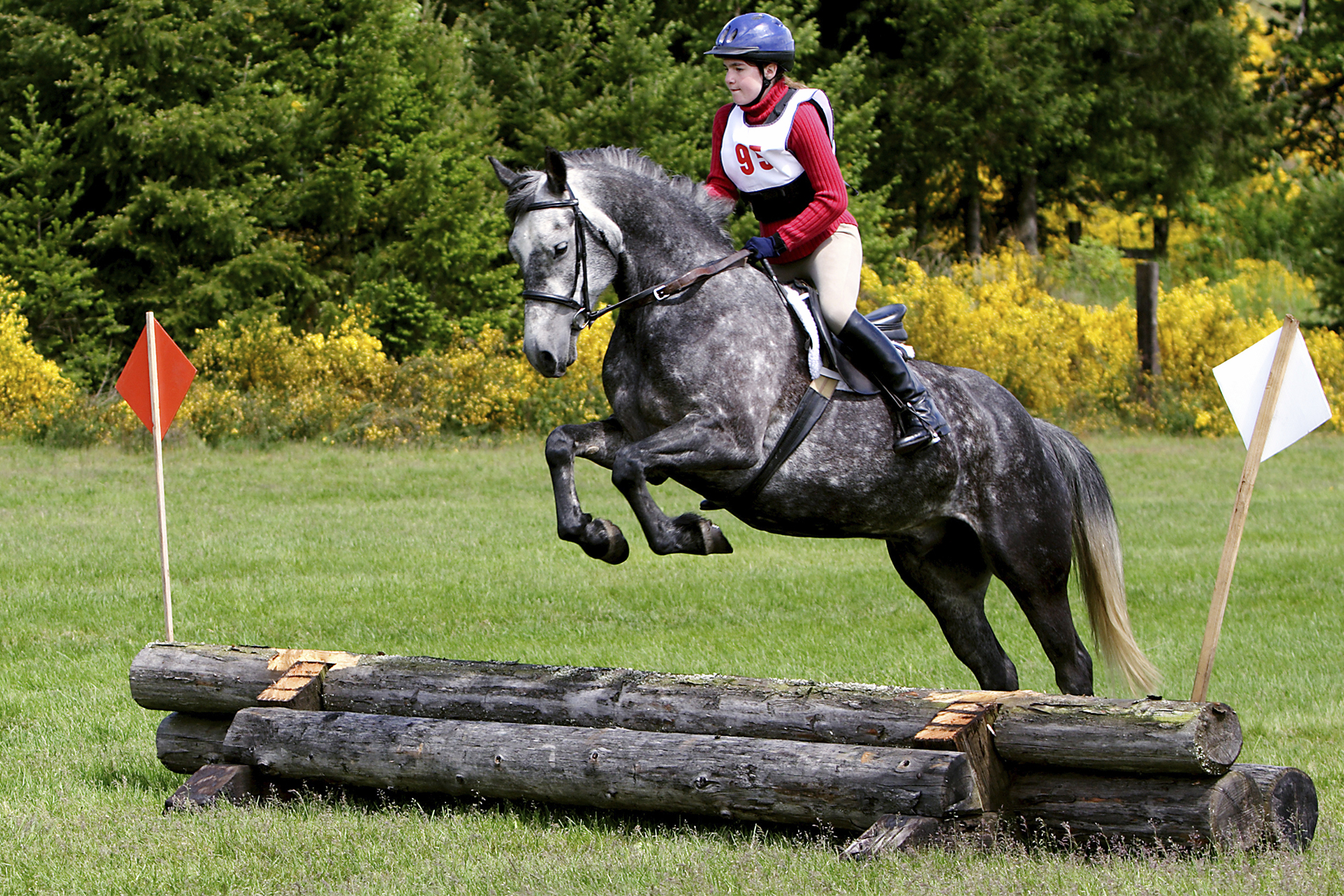 young rider jumping logs at horse trial event